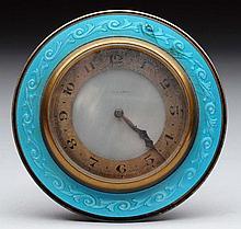Enamel Silver and Bronze Travel Clock.