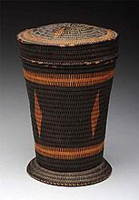 Native American Indian Woven Lidded Basket.