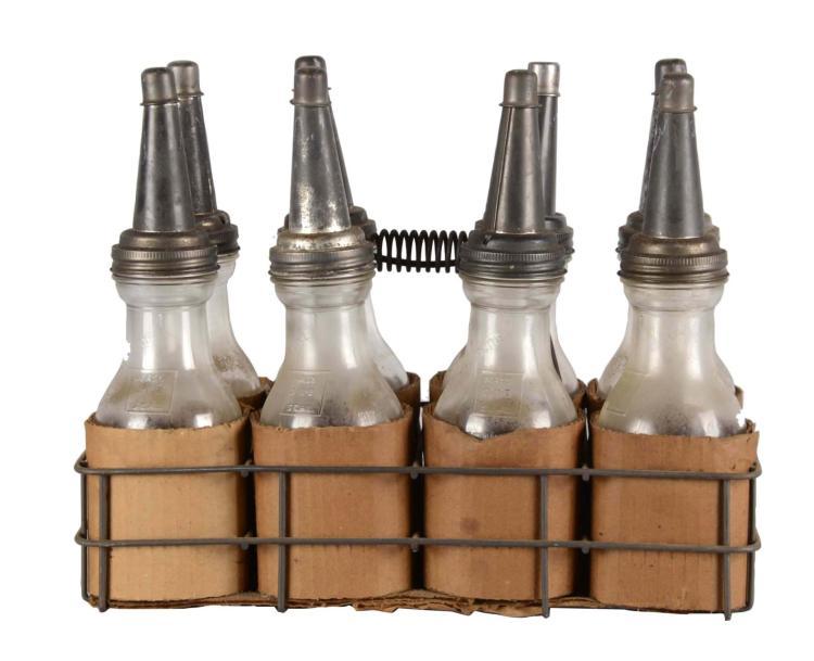 Lot Of 9 Vintage Motor Oil Bottles And Carrier
