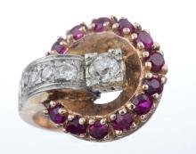 A Retro Diamond And Synthetic Ruby Ring.