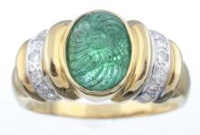 A Carved Emerald And Diamond Ring.