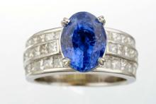 An Unheated Sapphire And Diamond Ring.
