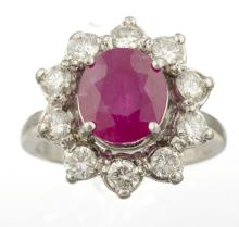 A Burma Ruby And Diamond Ring.