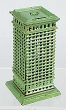 Cast Iron Sky Scraper Still Bank.