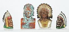 Lot of 4: Pot Metal Indian Head Still Banks.