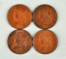 Lot Of 4: 1829 & 1832 Classic Head Half Cents.