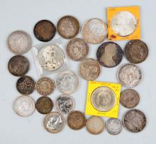 Lot Of 25: Mixed Foreign Silver Coins.