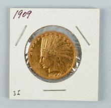 1909 $10 Gold Indian Eagle.