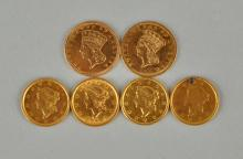 Lot of 6: $1 Gold Coins.