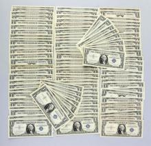 Lot Of 100: $1 Silver Certificates.