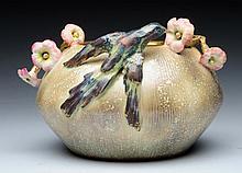 Eduard Stellmacher & Co. Ceramic Hummingbird Vase.