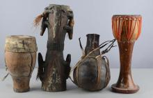Lot of 4: Antique African Percussion Instruments