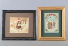Lot Of 2: Norcross Christmas Greeting Card Art