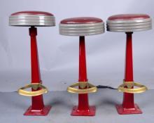 Lot of 3: Vinyl Upholstered Bar Counter Stools