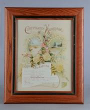 1901 Certificate Of Marriage In Frame