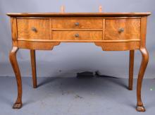 Vintage Oak Vanity With Panel Mirrors