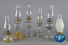 Lot Of 6: Assorted Glass Oil Lamps With Chimneys