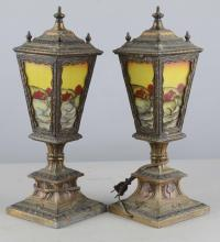 Pair Of Stained Glass Lantern Lamps