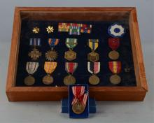 Collection Of U.S. Military WWII Medals In Case