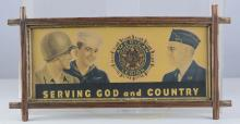 American Legion Advertisement Sign In Frame