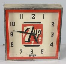 7up Logo Square Light Up Neon Advertising Clock