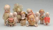 Lot Of 10: All-Bisque Dolls.