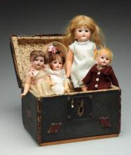 Lot Of 4: Bisque Dolls in Trunk.