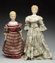 Lot Of 2: Parian-type Dolls.
