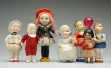 Lot Of 7: All-Bisque Dolls.