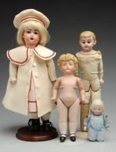 Lot Of 4: Bisque Dolls.