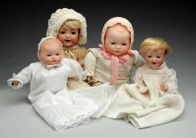 Lot Of 4: German Bisque Baby Dolls.