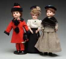 "Lot Of 3: Bisque Dolls Including ""Bleuette."""