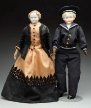 Lot Of 2: German Molded Hair Dolls.