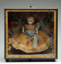 Splendid Cased Papier-Mâché Doll.