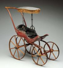 Early Joel Ellis Style Doll Buggy.