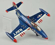 Japanese Tin Litho Friction Navy Airplane Toy.
