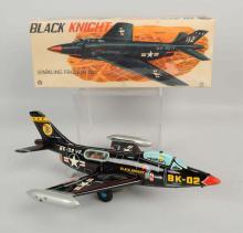 Japanese Tin Litho Friction Black Knight Airplane.