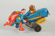 Marx Tin Litho Wind-Up Superman Roll Over Airplane