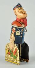 Marx Tin Litho Wind-Up Popeye Carrying Parrot Cage