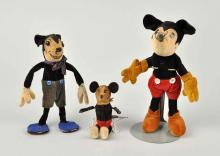 Lot Of 3: Early Felt Covered Mickey Mouse Figures.