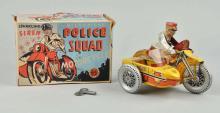 Marx Tin Litho Wind-Up Police Squad Motorcycle Toy