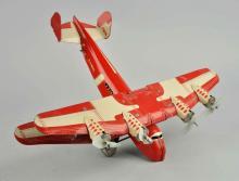 Marx Tin Litho Wind Up 4-Motored Biplane.