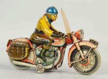 German Tippco Tin Litho Wind-Up Motorcycle Toy.
