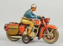 German Tin Litho Friction Tippco Motorcycle Toy.