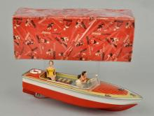 German Tin Litho Arnold Speed Boat Toy.