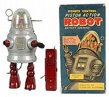 Painted Tin Piston Action Robot.