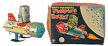 Tin Litho Wind-up Mechanical Jumping Rocket.