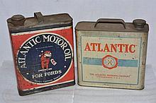 Lot of 2: Atlantic Motor Oil Can.