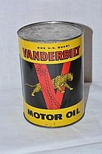 Vanderbilt Motor Oil One Quart Can.