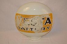 Vesta Battery OPE Milkglass Canteen Shaped Globe.